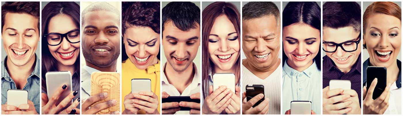 multicultral people waching smartphone