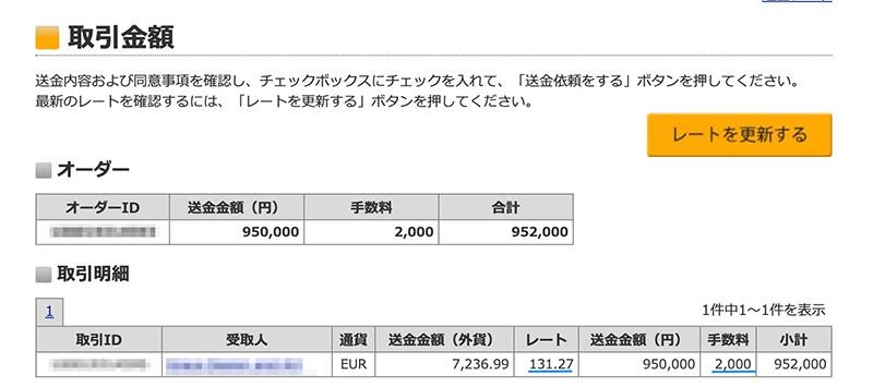 楽天銀行で95万円をオランダに送金(2021年2月20日)