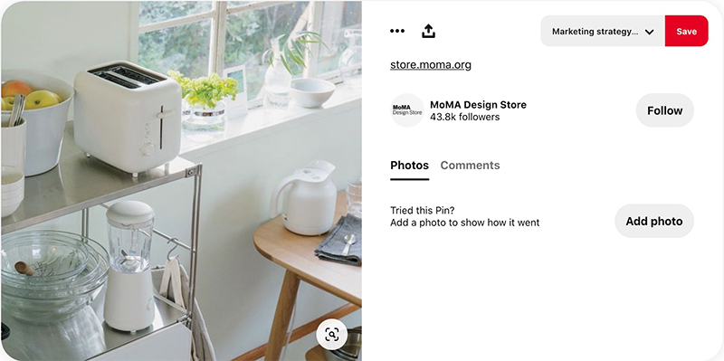 The capture of pinterest posted by MoMa Design Store