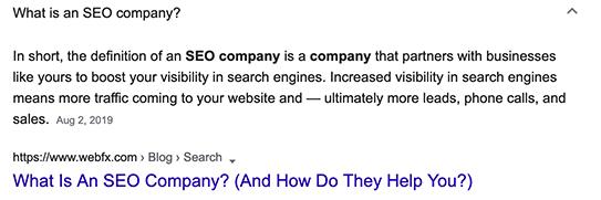 一番上の「What is SEO company?」をクリックした際の表示